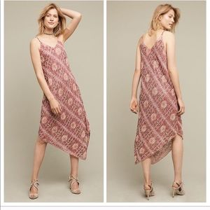 Anthropologie Floreat Pink Beaded Midi Dress | 6